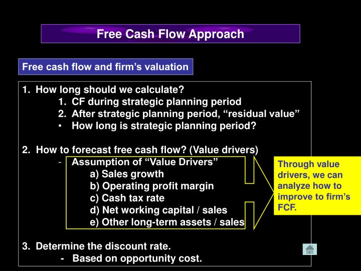 Through value drivers, we can analyze how to improve to firm's FCF.