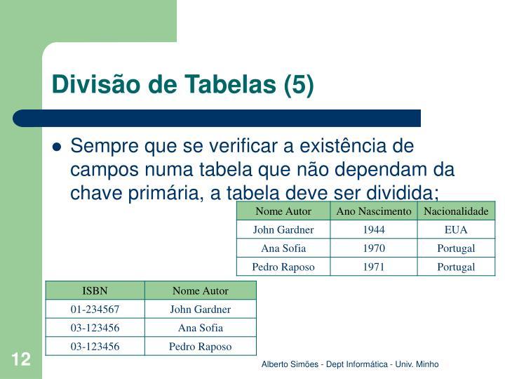 Divisão de Tabelas (5)