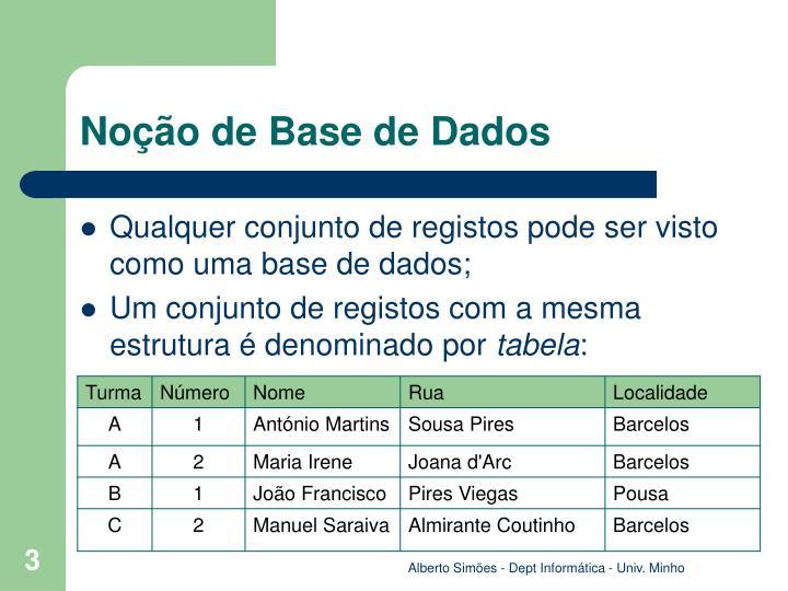Noção de Base de Dados