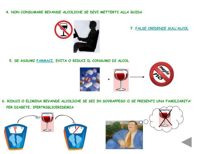 4. NON CONSUMARE BEVANDE ALCOLICHE SE DEVI METTERTI ALLA GUIDA