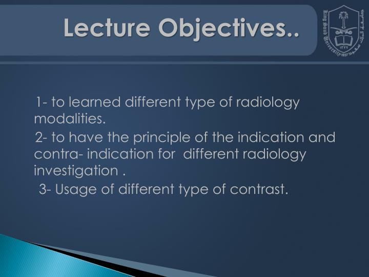 Lecture Objectives..