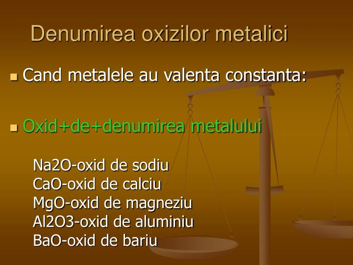 Denumirea oxizilor metalici