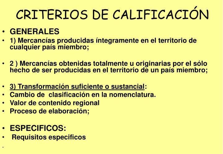CRITERIOS DE CALIFICACIÓN