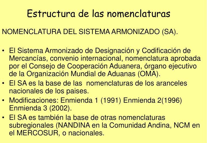 Estructura de las nomenclaturas