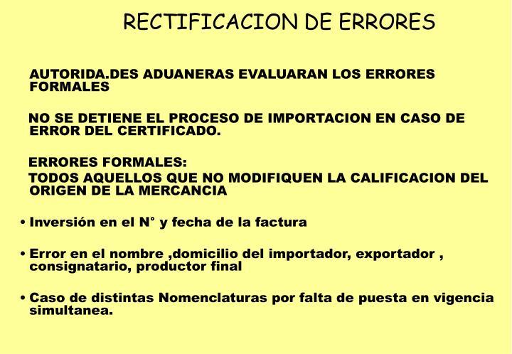 RECTIFICACION DE ERRORES