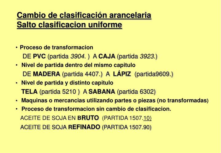 Cambio de clasificación arancelaria
