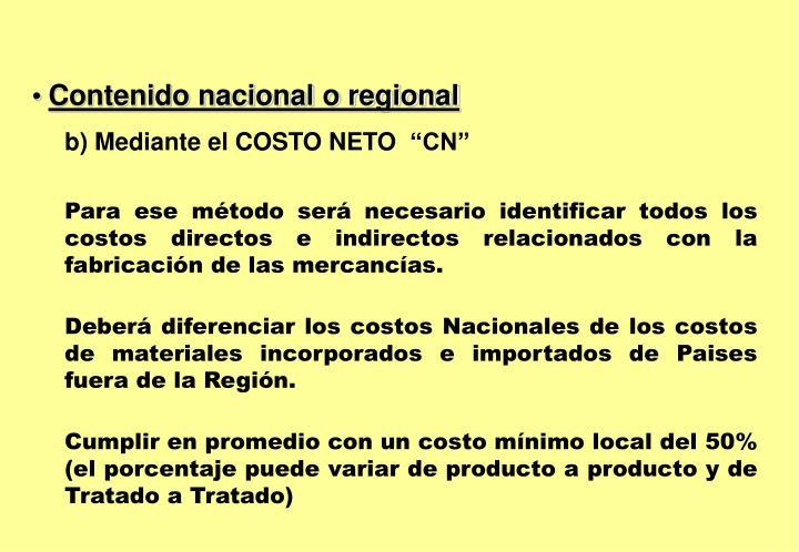 Contenido nacional o regional