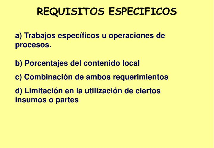REQUISITOS ESPECIFICOS