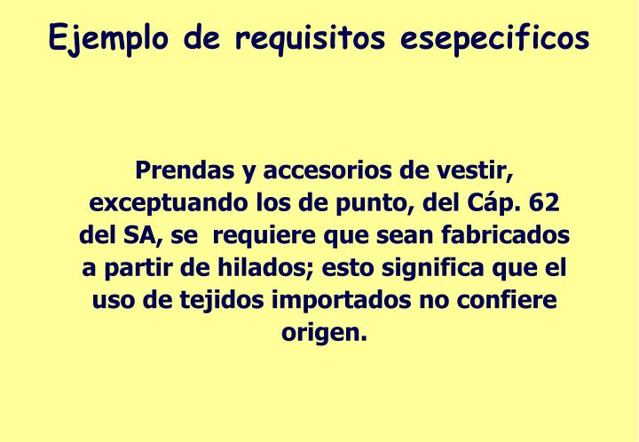 Ejemplo de requisitos esepecificos