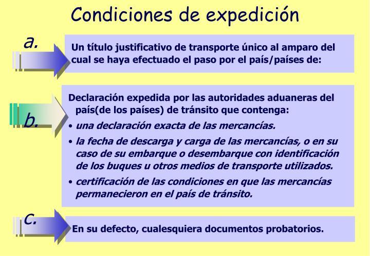 Condiciones de expedición
