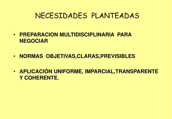 NECESIDADES  PLANTEADAS