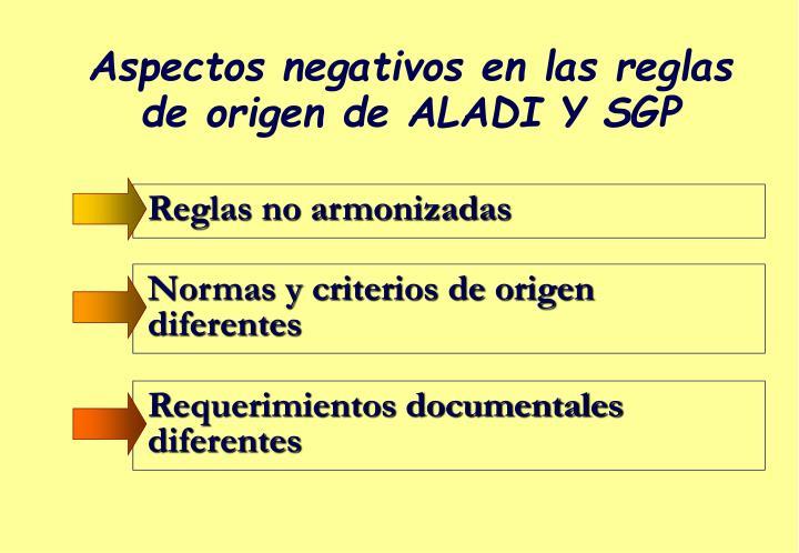 Aspectos negativos en las reglas de origen de ALADI Y SGP