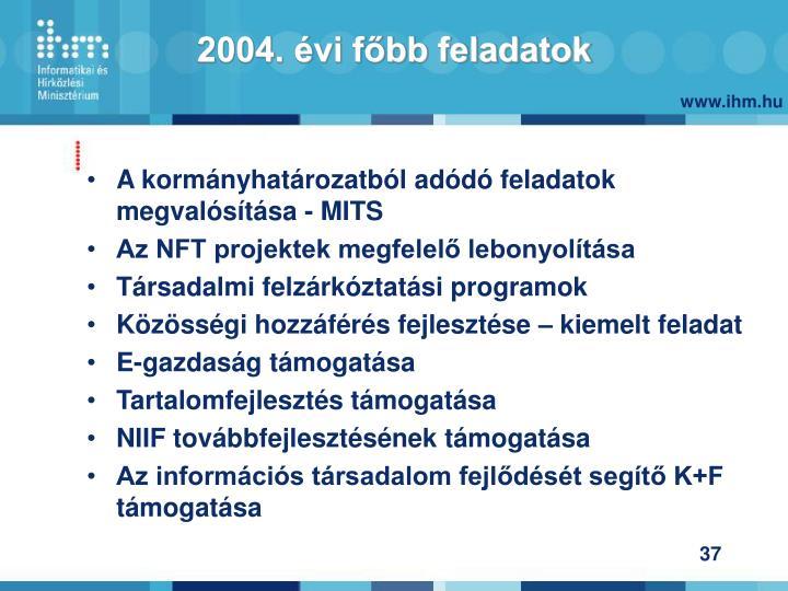 2004. évi főbb feladatok