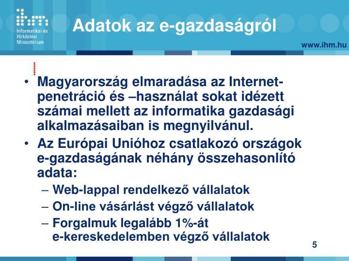 Magyarország elmaradása az Internet-penetráció és –használat sokat idézett számai mellett az informatika gazdasági alkalmazásaiban is megnyilvánul.