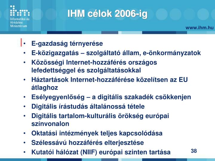 IHM célok 2006-ig