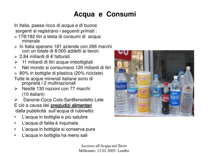 Acqua  e  Consumi