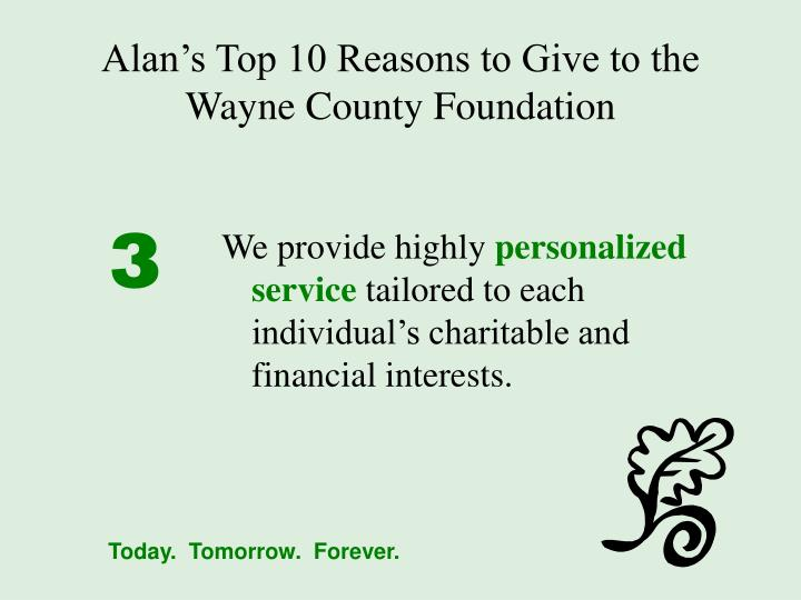 Alan's Top 10 Reasons to Give to the