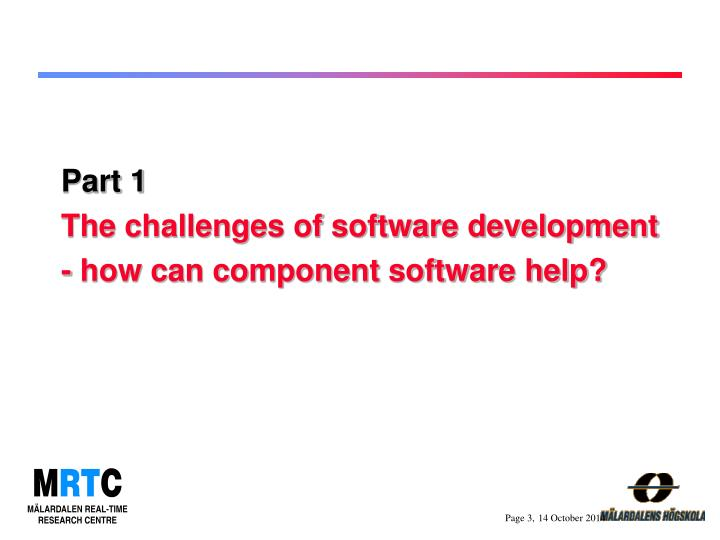Part 1 the challenges of software development how can component software help