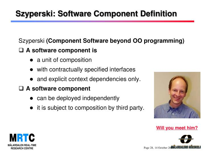 Szyperski: Software Component Definition