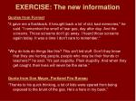 exercise the new information1