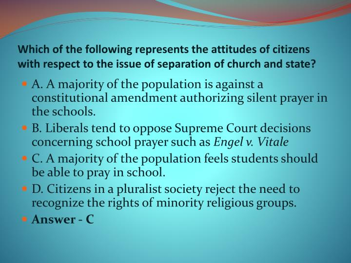 Which of the following represents the attitudes of citizens with respect to the issue of separation of church and state?