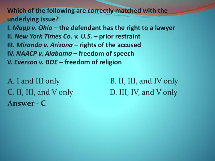 Which of the following are correctly matched with the underlying issue?