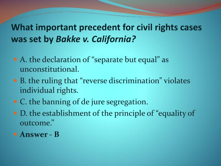 What important precedent for civil rights cases was set by