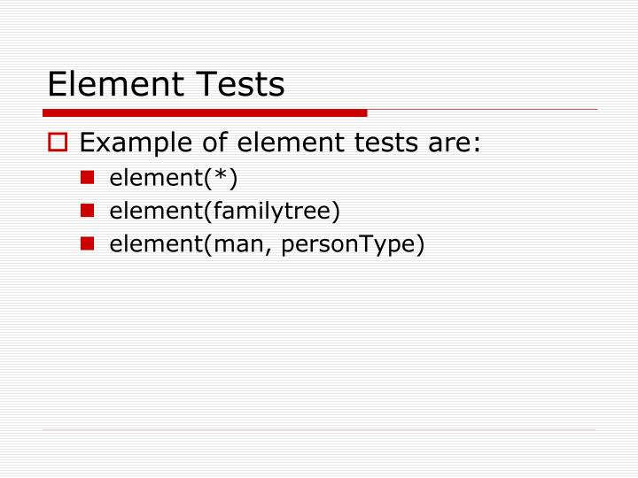 Element Tests