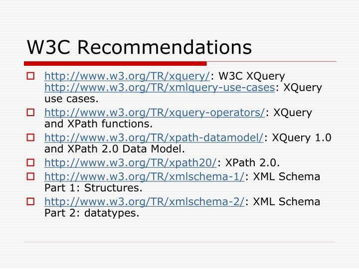W3c recommendations