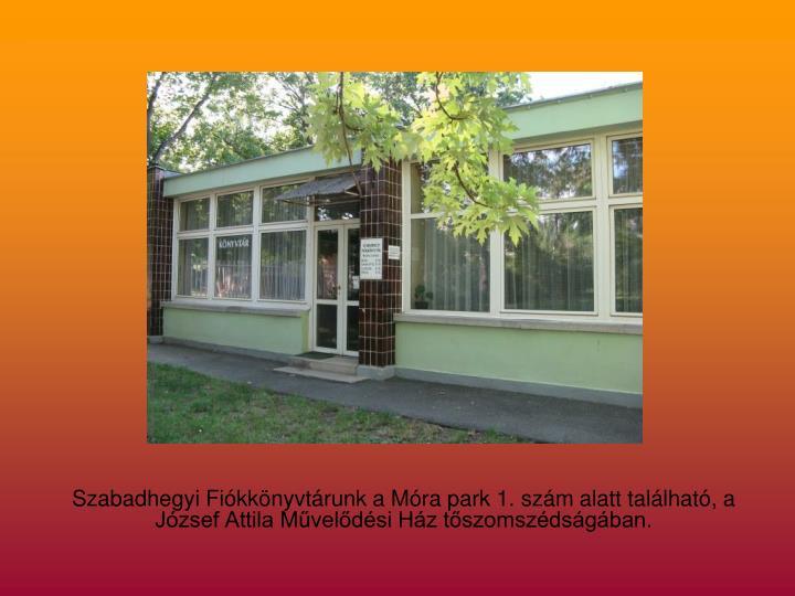 Szabadhegyi Fiókkönyvtárunk a Móra park 1. szám alatt található, a József Attila Művelődési Ház tőszomszédságában.