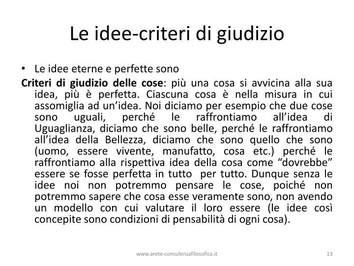 Le idee-criteri di giudizio