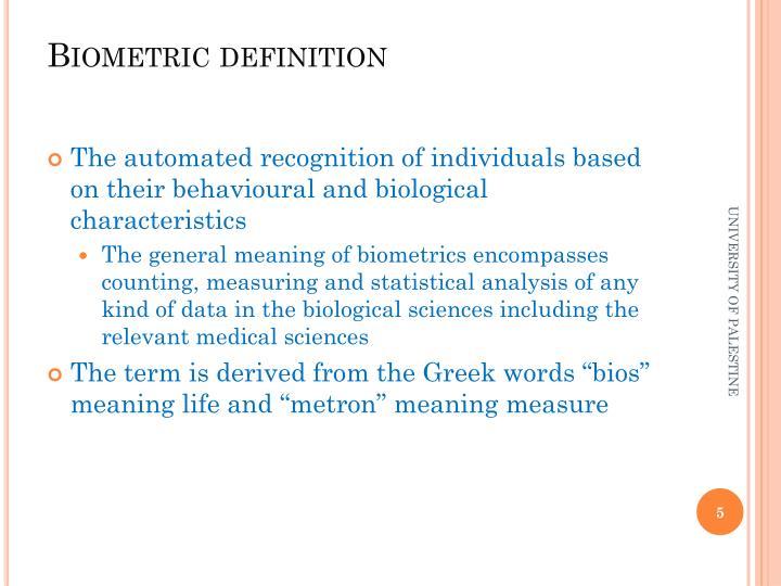 Biometric definition