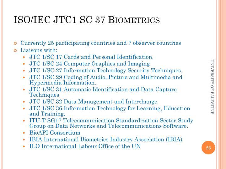 ISO/IEC JTC1 SC 37 Biometrics