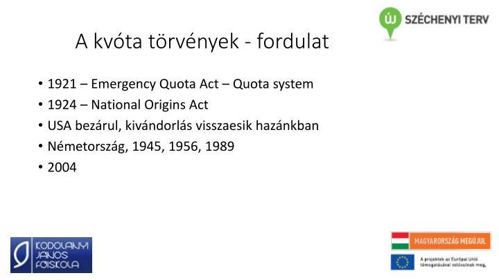 A kvóta törvények - fordulat