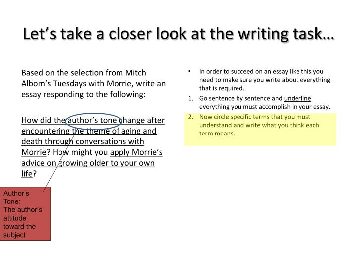 Let's take a closer look at the writing task…