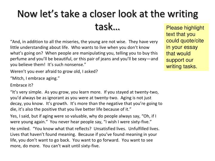 Now let's take a closer look at the writing task…