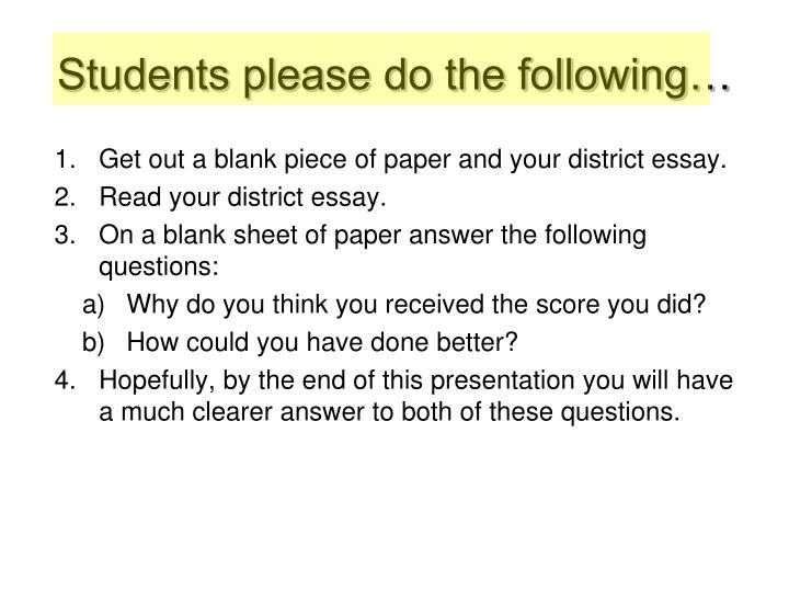 Students please do the following…