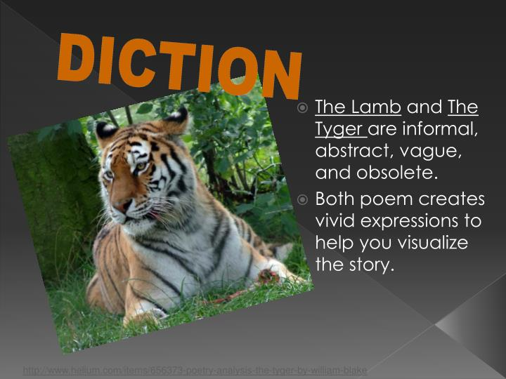 an analysis of tones and imagery in the lamb and the tiger by william blake An analysis of the lamb by william blake from cannot be fully understood without addressing the tyger, the companion poem found in songs of experience clicke the link for a full analysis to that poem.