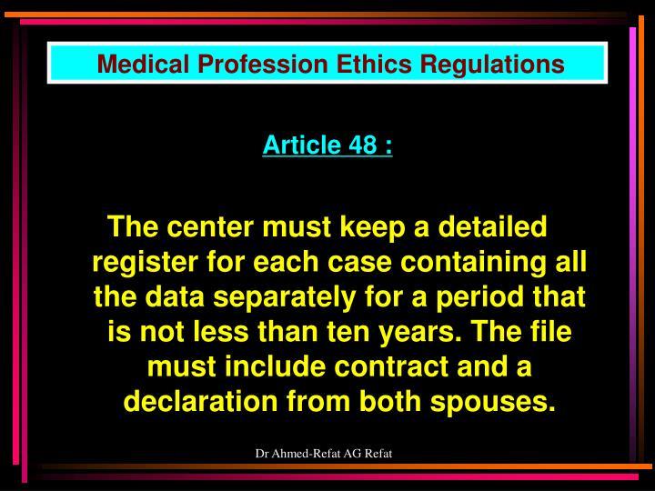 Medical Profession Ethics Regulations