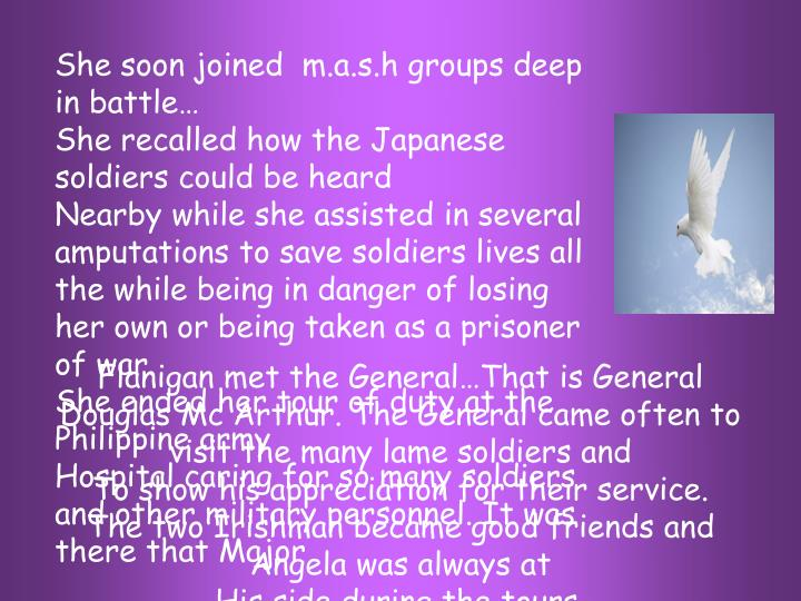 She soon joined  m.a.s.h groups deep in battle…