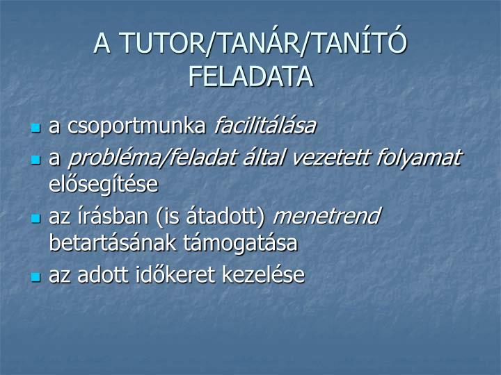A TUTOR/TANÁR/TANÍTÓ FELADATA