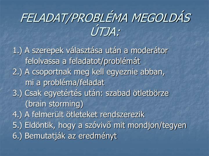 FELADAT/PROBLÉMA MEGOLDÁS ÚTJA: