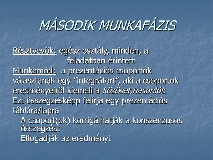 MÁSODIK MUNKAFÁZIS