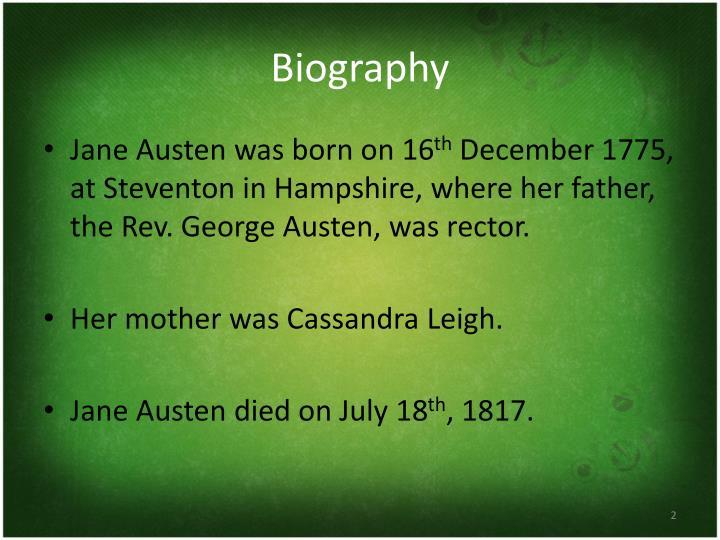 Jane Austen was born on 16