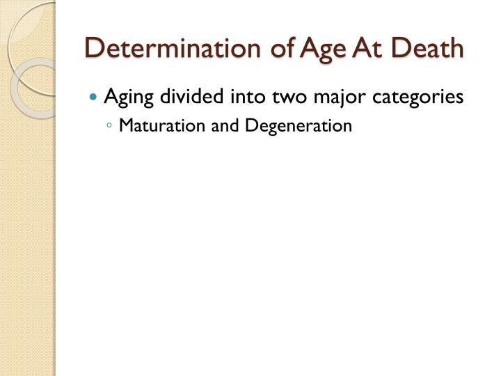 Determination of Age At Death