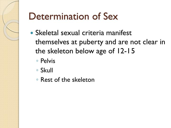 Determination of Sex