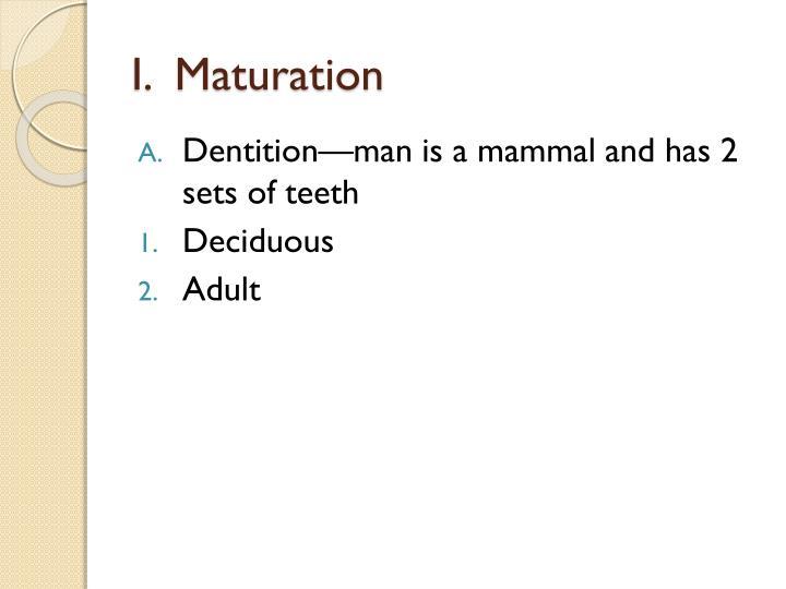 I.  Maturation