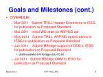 goals and milestones cont