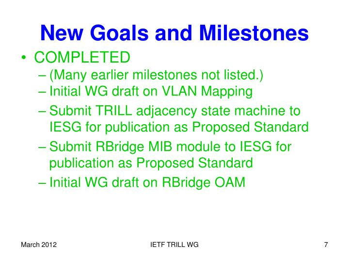 New Goals and Milestones