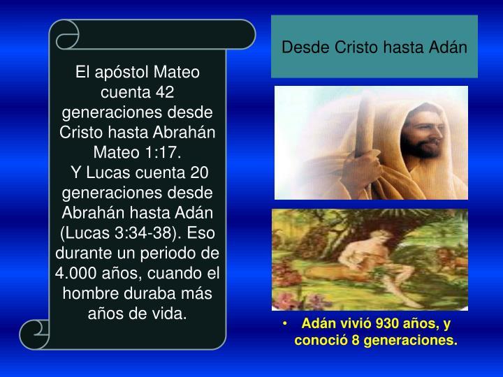 Desde Cristo hasta Adán
